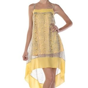 Yellow Mini Dress w/hi-low Sheer Overlay